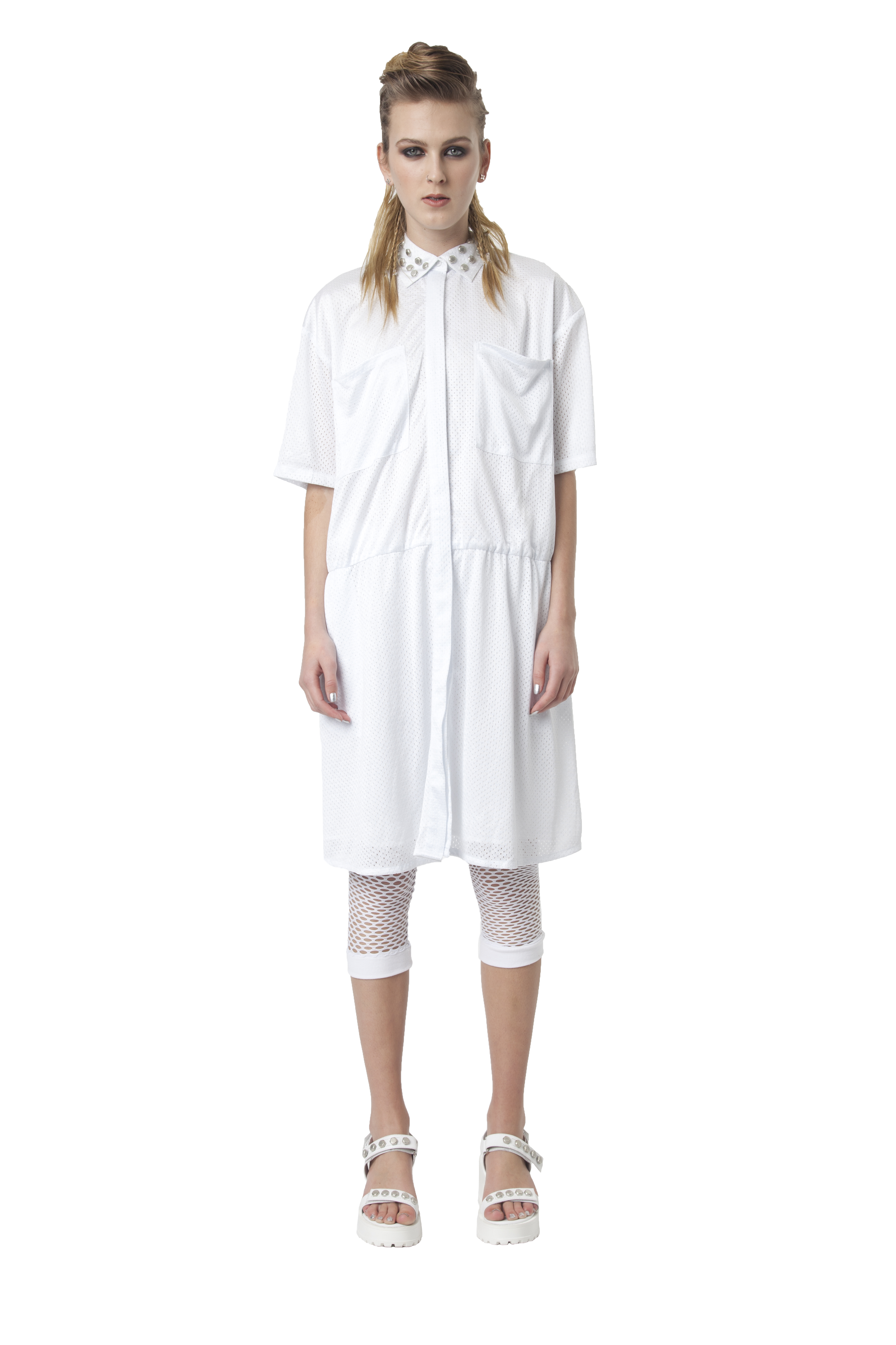 4.R13 HOLY SHIRT DRESS - WHITE-RRP$300