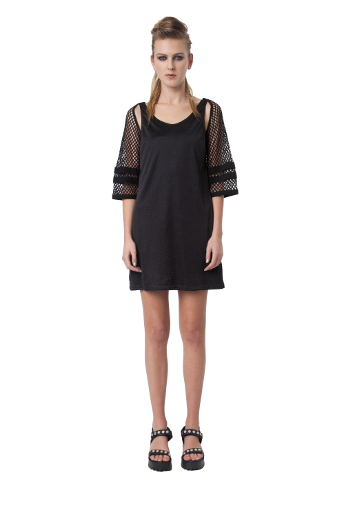 7.R13 BORED SPORTS SHIFT DRESS-BLACK-RRP$264